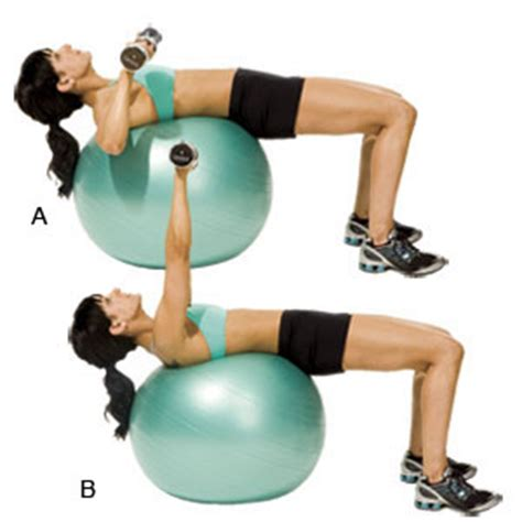 exercise ball bench press swiss ball dumbbell chest press lean it up