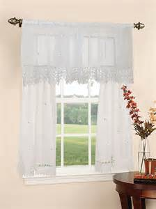 Kitchen Curtain Sets Design Sheer 3pc Kitchen Curtain Set 18 60 Quot Valance 2pcs 30 36 Quot Tiers
