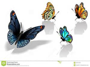 set of colorful realistic isolated butterflies stock