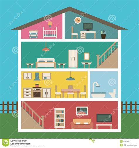 modern home design vector house in cut detailed modern house interior stock vector image 55620843