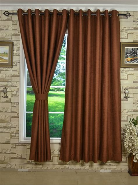 chocolate colored curtains ch0101ad mirage brown color solid faux linen eyelet