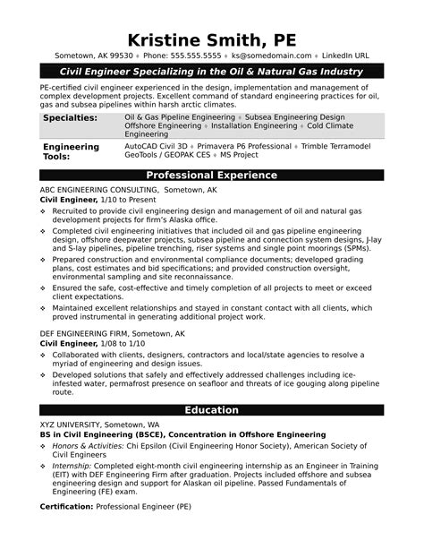 resume format for experienced and gas industry civil engineer resume all resume simple