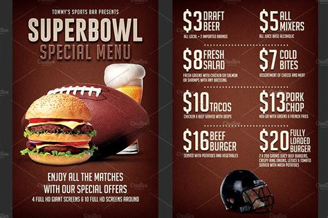 football menu templates football bowl food menu flyer flyer templates