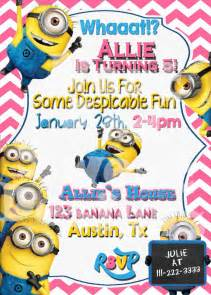 Minion invitation despicable me printable birthday party invitation