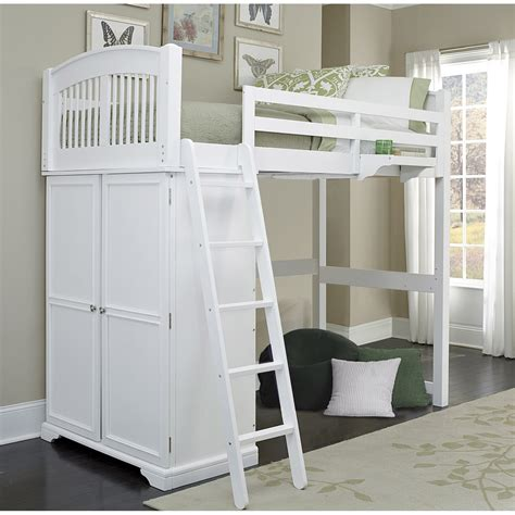 Ne Kids Walnut Street White Locker Loft Bed 8060 Loft Youth Bunk Beds With Desks