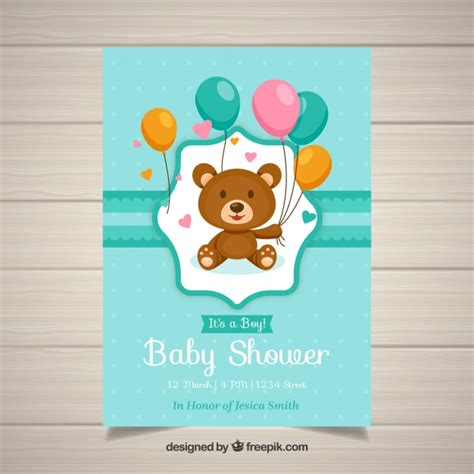 Baby Shower Invitation Template With Teddy Vector Free Download Teddy Baby Shower Invitations Templates Free