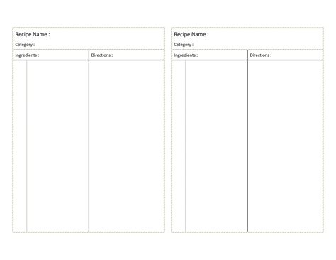 word document recipe card template recipe card template