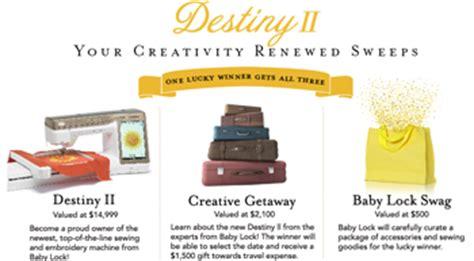 Sewing Machine Sweepstakes 2016 - tacony baby lock destiny ii your creativity renewed giveawayus com