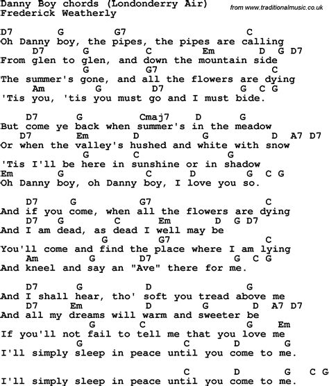 boy oh boy song song lyrics with guitar chords for danny boy
