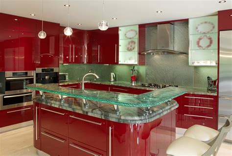 Kitchen Backsplash Glass Tile Design Ideas by Modern Kitchen Countertops From Unusual Materials 30 Ideas