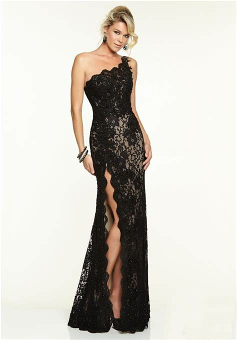 Lace Back One by One Shoulder High Slit Black Lace Beaded Prom Dress
