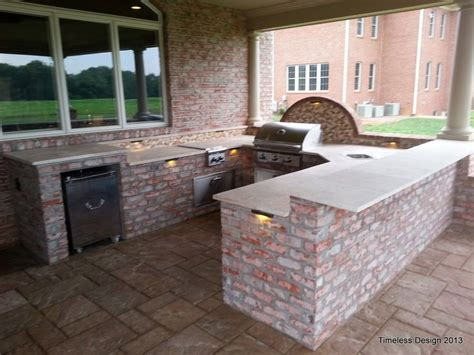 brick travertine outdoor kitchen pools and patios pinterest