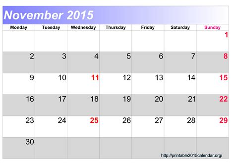 printable calendar november 2015 free 5 best images of cute november 2015 calendar printable