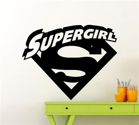 superheroes supergirl logo  cool initial wall sticker