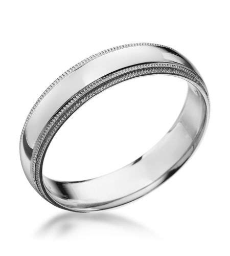 Wedding Bands Bc by Groom Platinum 5 00x1 65mm Dual Milgrain Band Omg
