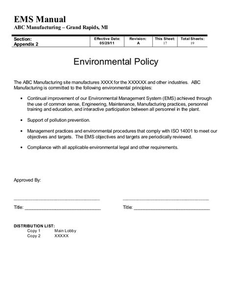 environmental procedures template gallery templates