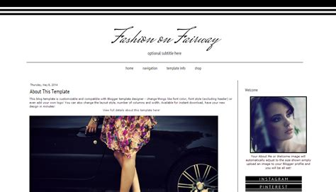 layout fashion blog fashion blogger template black and white