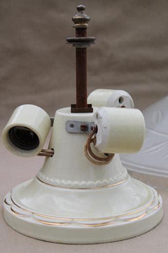 Porcelier Light Fixture Vintage Porcelier China Flush Mount Ceiling Light Fixture W Glass Shade