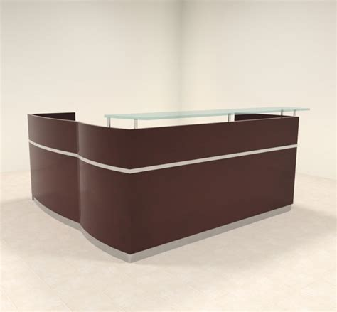 3pc Modern Glass L Shaped Counter Reception Desk Set Ro L Shaped Reception Desk Counter