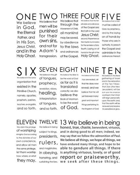 printable articles of faith printable we believe 13 articles of faith instant