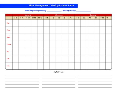 template for time management schedule free printable time management template calendar