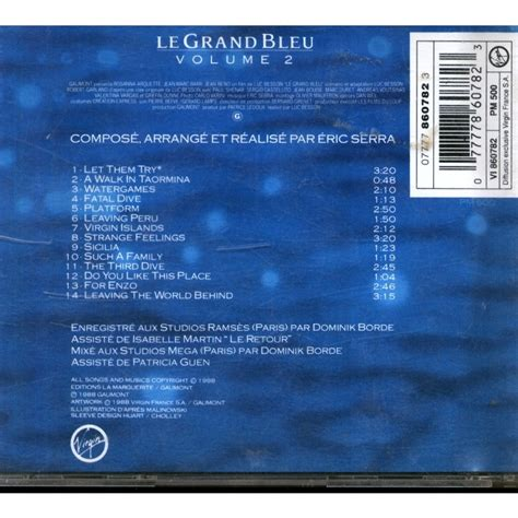 eric serra grand bleu le grand bleu volume 2 by eric serra cd with grigo ref