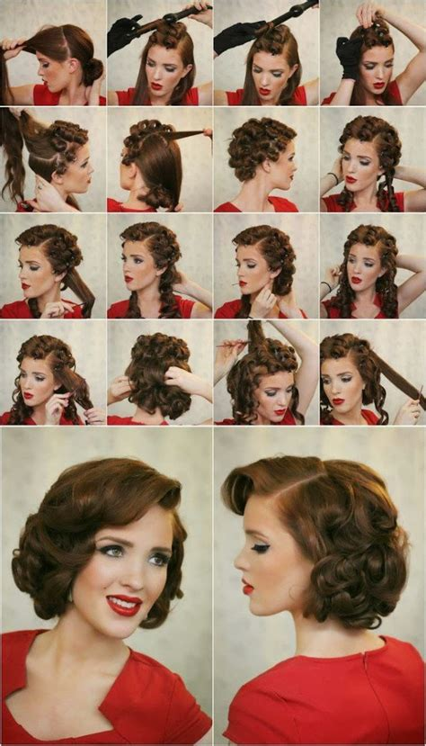 1950s step by step hairstyle easy diy updos for medium length hair