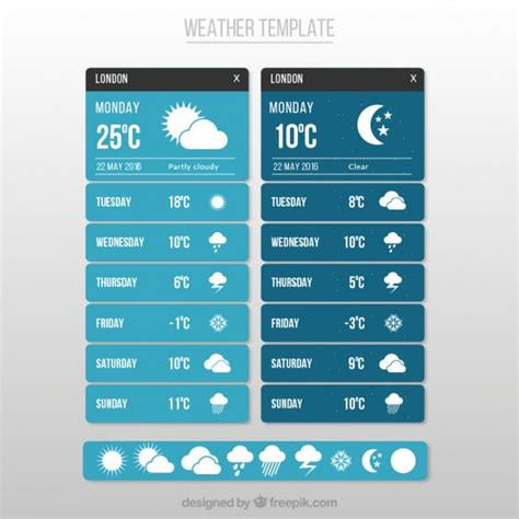 Weather App Template Vector Free Download Weather Graphics Template