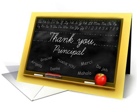 Thank You School Principal, Chalkboard with Many Thanks