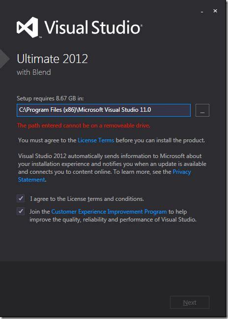 reset user settings visual studio 2012 installation install visual studio 2012 and sql server