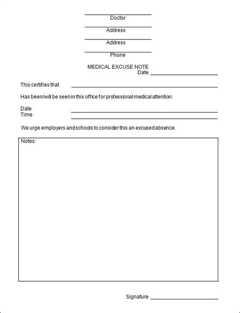 dr notes templates free doctors excuse template cyberuse