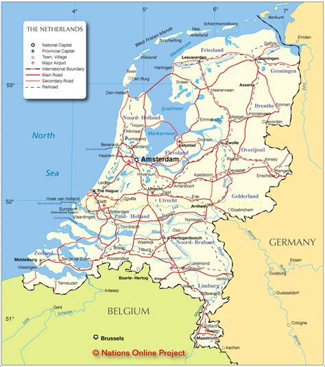 netherlands mountains map political map of netherlands nations project