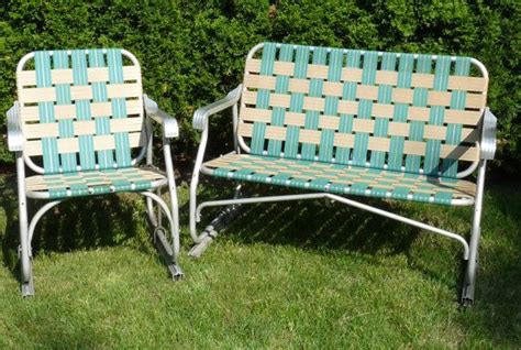 Vintage Aluminum Green Brown Webbed Glider Loveseat Couch Rewebbing Patio Chairs