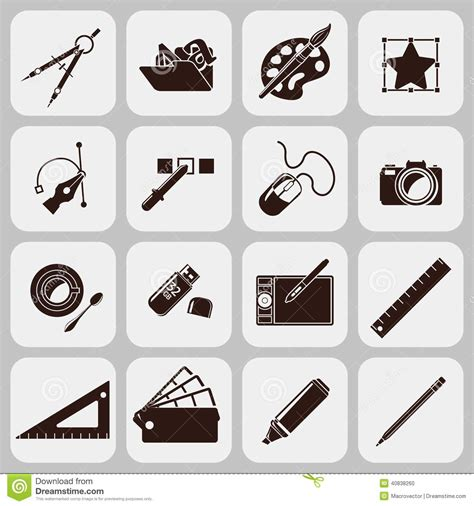 designer tool designer tools black icons stock vector image 40838260