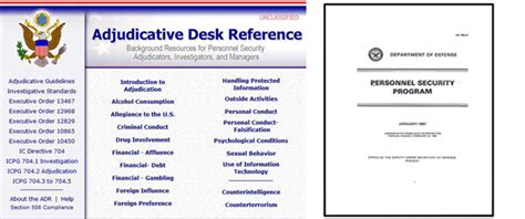 Adjudicative Desk Reference by Dod Adjudicative Elements Security Clearance