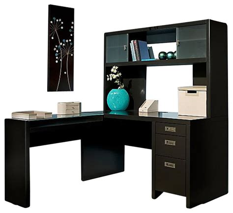 L Shape Desk With Hutch Kathy Ireland By Bush New York Skyline L Shape Desk With Hutch Office Set In Mod Desks And