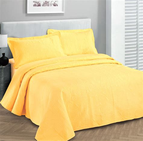 Sprei Bedcover Hello Garden Uk 160x200x30 size 3 pc solid embossed bedspread bed cover new size yellow ebay