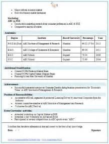 Resume Sles Mba Finance Marketing Mba Finance Fresher Resume Template 2 Career Finance Resume And Resume Templates