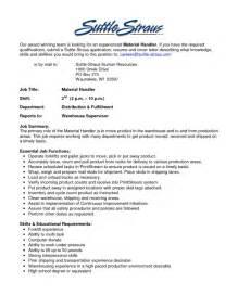 Material handler resume templates resume template builder inside