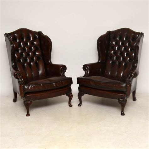 pair armchairs pair of antique leather wing back armchairs antiques atlas