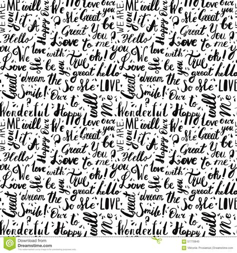 black and white pattern letter handwritten vintage ink words vector seamless pattern with