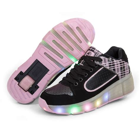 wheels light up shoes children roller shoes with wheels kids led light up shoes