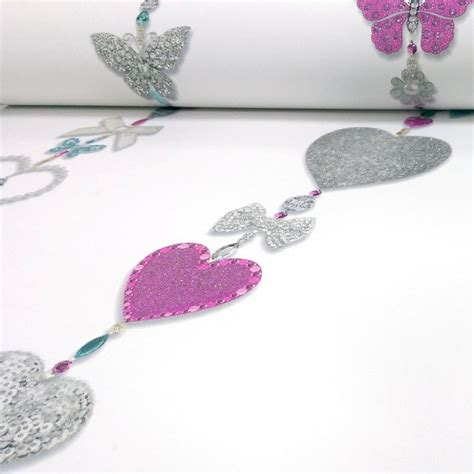 Wide Pink Stripe Wallpaper 45cm X 10m Hearts Stripe Glitter Wallpaper White Pink