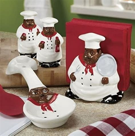 Kitchen Ceramic Canisters Decor African American Guys Bistro Black Happy Chef 3