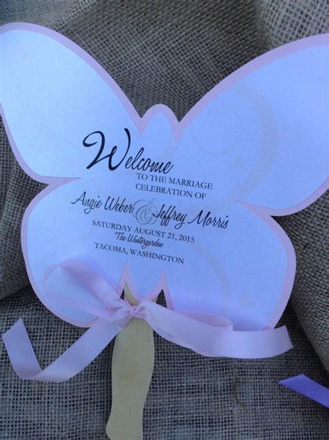 butterfly shaped wedding fan favor program by