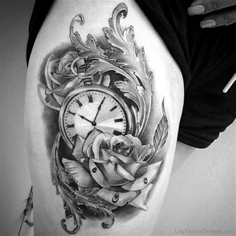 rose and clock tattoo designs 50 fantastic clock tattoos on thigh