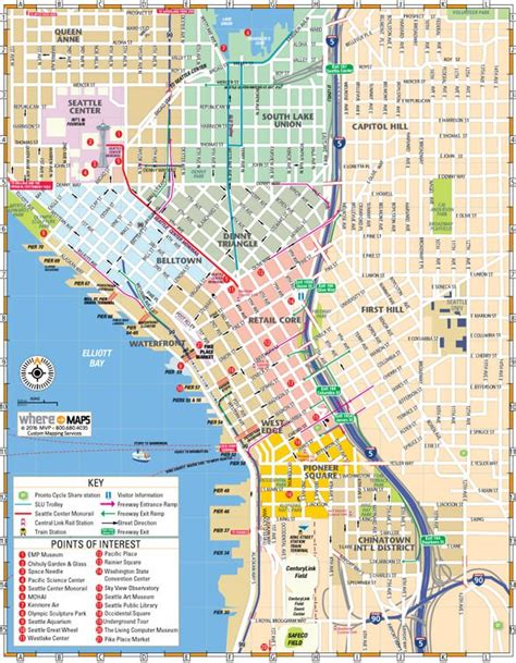 printable seattle area map map of downtown seattle interactive and printable maps