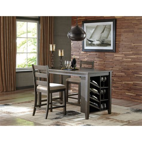 Signature Design By D550 32 Trishelle Rectangular Counter Signature Design By Rokane Rectangular Counter Table W Storage And Wine Rack Royal