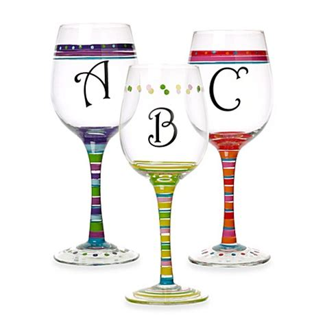 bed bath and beyond glassware monogrammed wine glasses bed bath beyond