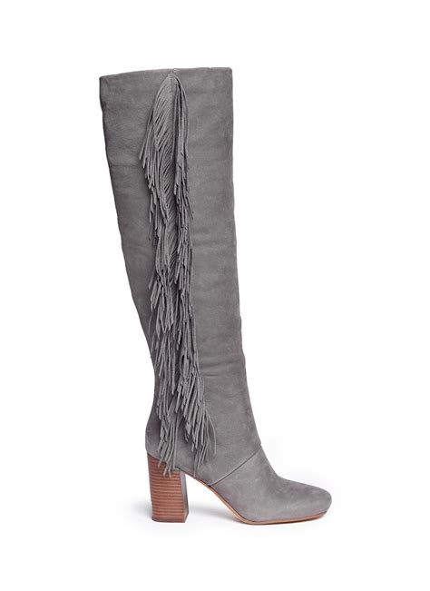sam edelman taylan fringed suede knee high boots in gray